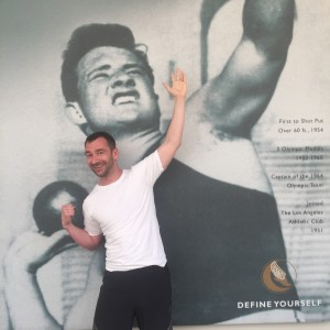 """""""Charlie at the LAAC measuring up against Parry O'Brien, captain of the 1964 US Olympic team"""""""