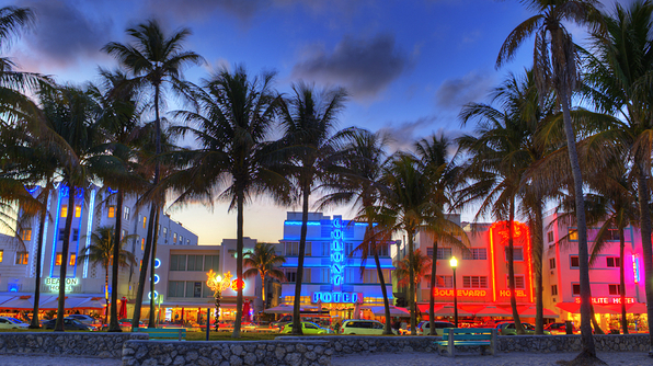 View of South Beach at Dusk