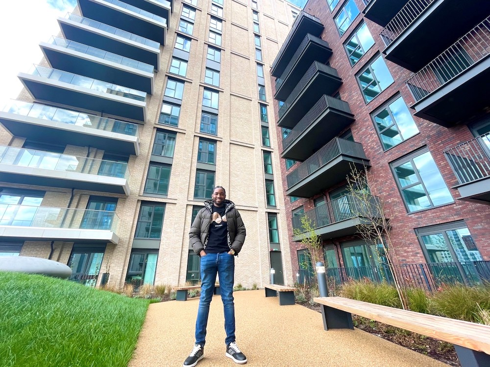 Outside apartments in Canning Town, London