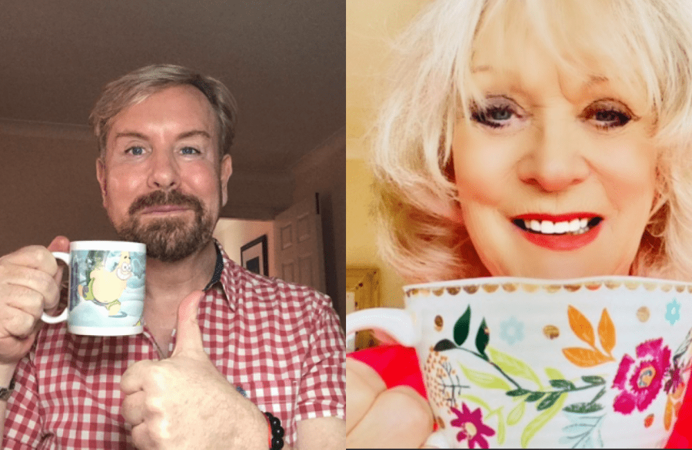 Sherrie Hewson and Steven Smith have a cup of tea.